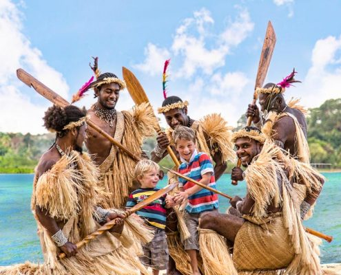 Poppy's on the Lagoon, Vanuatu - Kids with Warriors